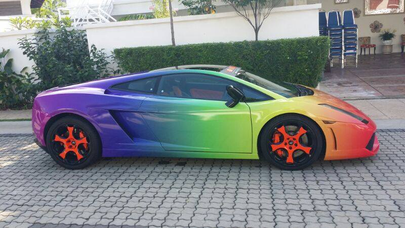 A Rainbow Colored Lamborghini Gallardo