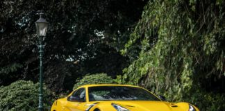 A yellow Ferrari F12tdf is up for sale