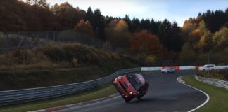 Man laps the Nurburgring with a Mini Cooper S doing a side wheelie