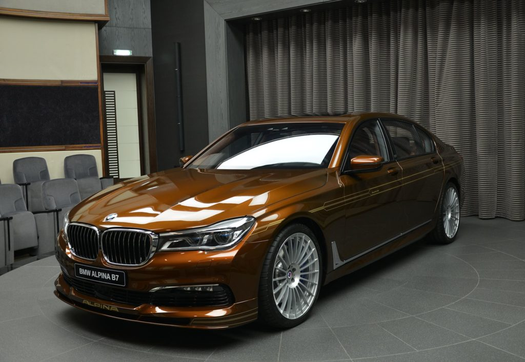 An Alpina B7 BiTurbo painted in brown with gold accents