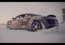 An Audi R8 and a Lamborghini Gallardo playing in the snow