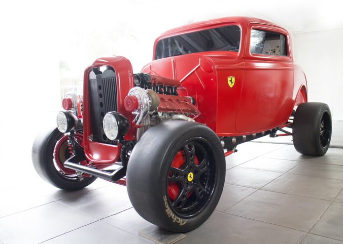 Custom 1932 Ford with a Twin Turbo Ferrari V8 engine
