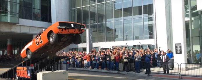 A General Lee Dodge Charger makes a stunt jump in Detroit