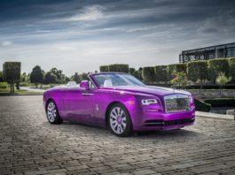 A purple Rolls-Royce Dawn