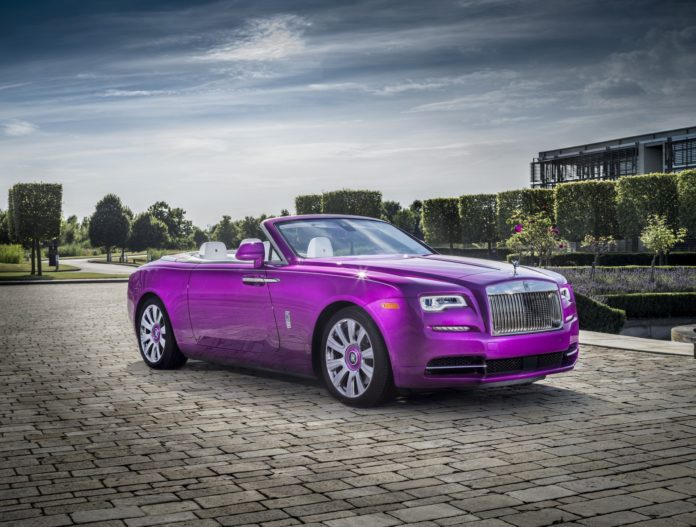A purple Rolls-Royce Dawn