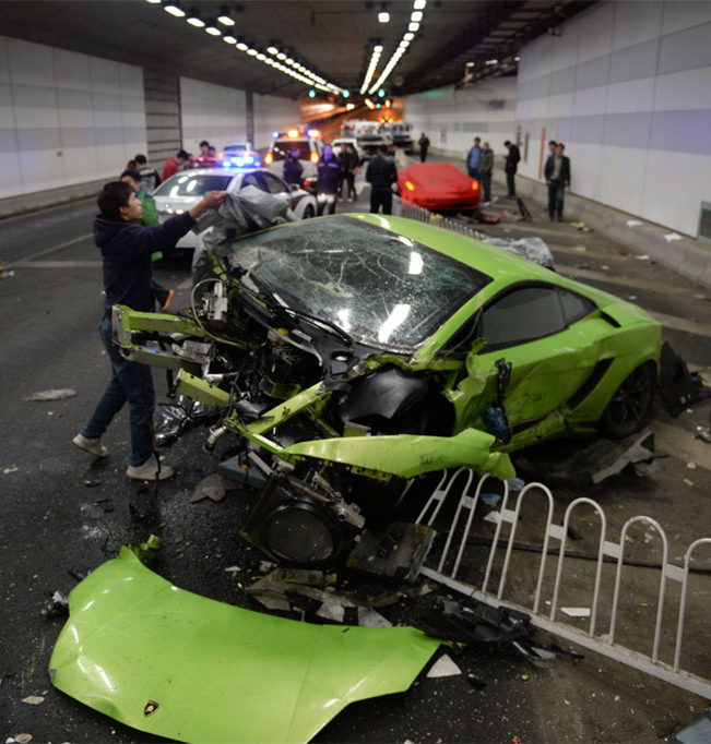 Two Supercars Crash In China After Illegal Street Race
